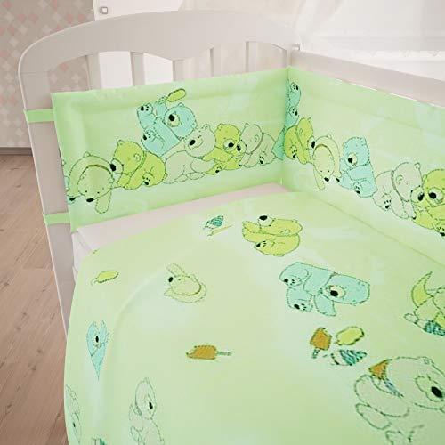 Polini Kids Juego de Ropa de Cama para bebé (120 x 60 cm, 3 Piezas), diseño de Oso de Peluche, Color Verde