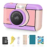 Magicfun Kids Camera for Girls Age 3-10Years Old - 24MP Dual Lens Kid Digital Camera, 1080P 2.4'' LCD Blue Screen Video Camcorder, USB Rechargeable Selfie Camera with 32GB SD Card