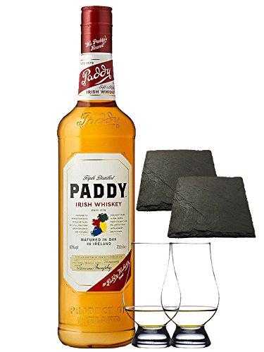 Paddy Irish Whiskey 0,7 Liter + 2 Glencairn Gläser und 2 Schiefer Glasuntersetzer 9,5 cm