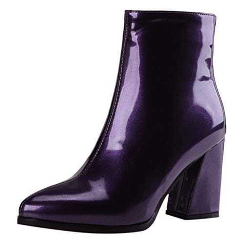 LATINDAY Womens Block High Heel Platform Patent Leather Ankle Boots with Zip up Booties Shoes Purple
