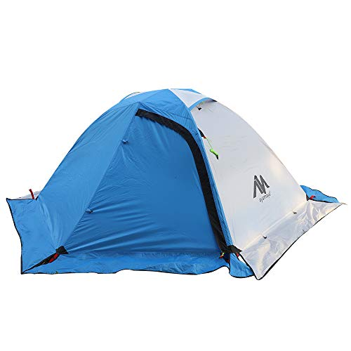 4 Season Backpacking Tent for 1-2 Person, AYAMAYA Winter Cold Weather Ultralight Double Layer Waterproof 2 Doors & 2 Top Vent Easy Setup 2 Man Camping Tents for Backpacker Hiking Fishing Bikepacking