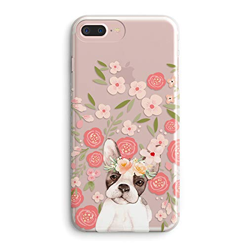 iPhone 8 Plus/iPhone 7 Plus Case Women,Girls Cute Funny Puppy Dog Impact Animal Print French Bulldog Pink Flowers Floral Daisy Roses Blooms Clear Soft Case Compatible for iPhone 7 Plus/iPhone 8 Plus