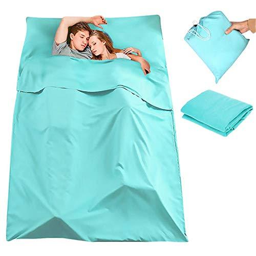 WanuigH Schlafsack Einfach tragen Faltbare 180 x 210cm Doppelschlafsack Tragbare Liner Polyester-Rohseide Mama Schlafsack (Farbe : Light Blue, Size : 180 x 210cm)