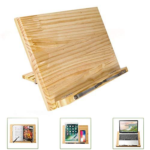 Stuurhard boekenstandaard van hout, ook geschikt voor laptop, iPad, boek, kookboeken, ronde bladmuziek