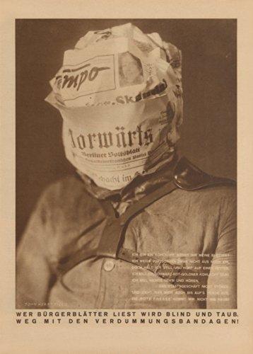 Vintage JOHN HEARTFIELD Wer Burgerblatter bramarás Wird estor y Taub 250gsm cuadro decorativo...