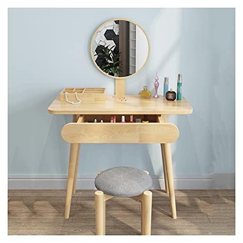 Tocador de Maquillaje Conjunto de mesa de tocador con espejo y 1 cajón, mesa de tocador de vanidad, escritorio de cómoda y conjunto de taburos amortiguados para niña, dormitorio para mujeres Tocador