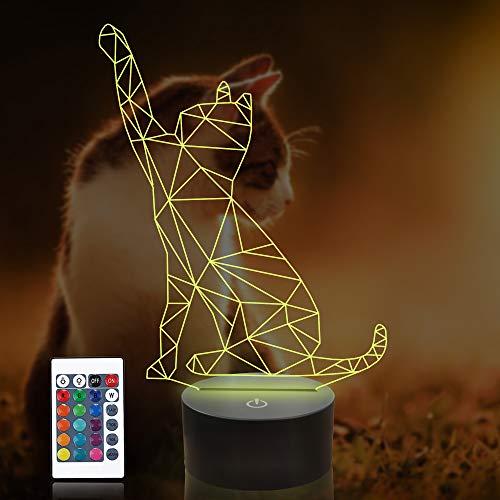 LED Nachtlicht, CooPark Katze 3D lampe Tischlampe Nachtlichter 16 Farben Touch Schalter mit Remote Schreibtischlampe mit 150cm USB Kabel Kinder Nachtlampe Geburtstagsgeschenk