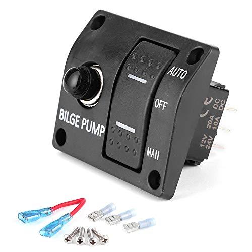 Interruptor basculante de bomba de sentina Kuuleyn, panel de interruptores de bomba de sentina de 3 vías automático/apagado/manual 12 V 24 V con indicador LED disyuntor integrado de 15 A