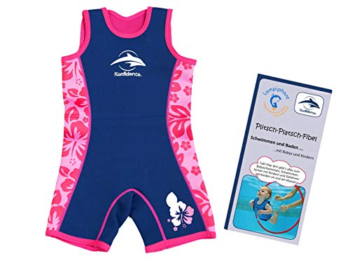 Lampiphant® + Konfidence Warma Wetsuit, Kinder-Badeanzug aus Neopren mit Plitsch-Platsch-Fibel, rosa Blumen, Größe 2-3 Jahre