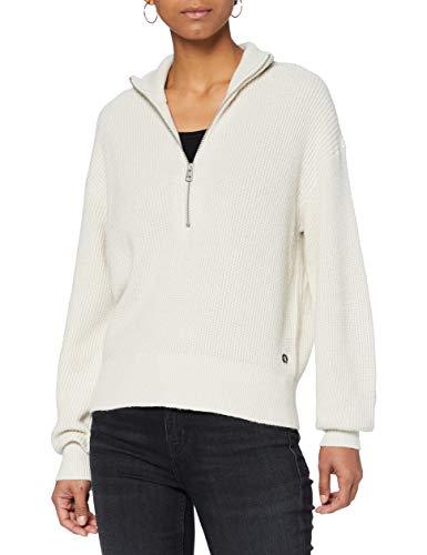 Calvin Klein Jeans Damen Mid Gg Mock Neck Zip Pullover, Soft Cream, L