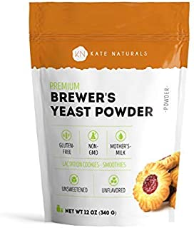 Brewer's Yeast Powder - Kate Naturals. Perfect for Lactation Cookies, Boost Mother's Milk. Gluten-Free & Non-GMO. Fresh Fragrance. Large Resealable Bag. 1-Year Guarantee. 12oz.