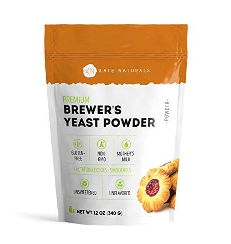 Brewer's Yeast Powder - Kate Naturals. Perfect for Lactation Cookies, Breastfeeding Supplement to Boost Mother's Milk. Gluten-Free & Non-GMO. Large Resealable Bag. 1-Year Guarantee. 12oz.