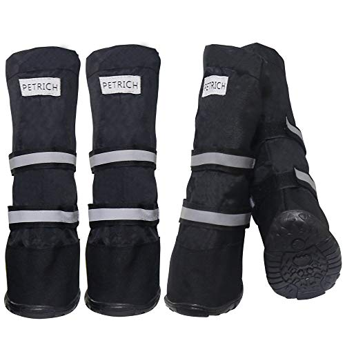 HelloPet Water Resistant Dog Boots Warm Lining Nonslip Rubber Sole for Snow Winter,4PC (XS, Black)