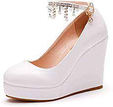 Crystal Queen 11CM White Bridal Wedding Shoes Platform Wedges Pumps Round Toe Platform High Heels Tassel Chain Pumps W1L-41-w