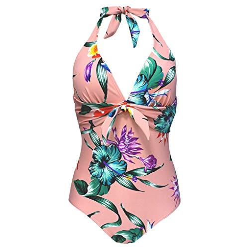 SHEKINI Donna Costume da Bagno Un Pezzo Intero Bikini V-Collo Trasparente Mesh Design Halter Tracolla Regolabile Controllo della Pancia Triangolo Costumi Interi
