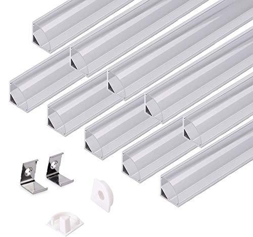 kingled – Profil in Aluminium Typ 1616 rot Winkelgriff 45 Grad für LED Streifen mit Abdeckung rund aus Plexiglas, Korken und Haken für die Montage (Durchsichtig, 10 Profile)
