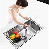 STZYY Lavello da Cucina Quadrato Vasca Singola in Acciaio Inossidabile con Filtro Scolapiatti Tubi Idraulici di Scarico Installazione da Incasso sottopiano