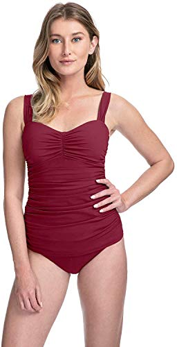 Profile by Gottex Women's Sweetheart Cup Sized Tankini Top Swimsuit, Tutti Frutti Merlot, 36E