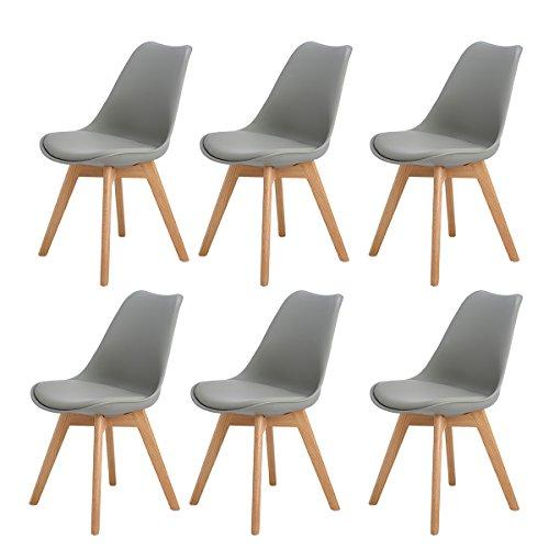 H.J WeDoo 6er Set Esszimmerstühle mit Massivholz Eiche Bein, Küchen stühle mit Gepolsterter für ESS und Wohnzimmer - Grau