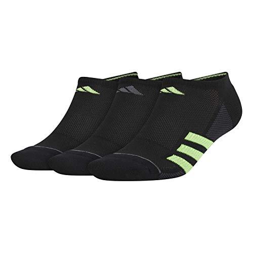 adidas Calcetines deportivos Superlite Stripe No Show (3 pares) para hombre (paquete de 3), Hombre, Calcetines atléticos, 976427, Negro/Gris Noche/Verde Solar/Verde Señal/Onix, Large