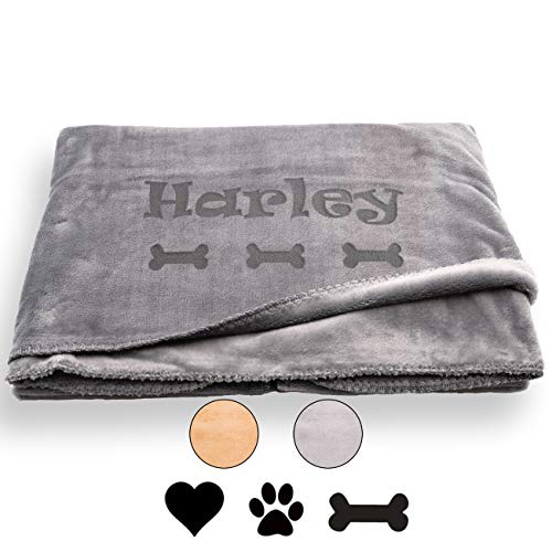 Custom Catch Personalized Dog Blanket - Gray or Beige - Extra Large