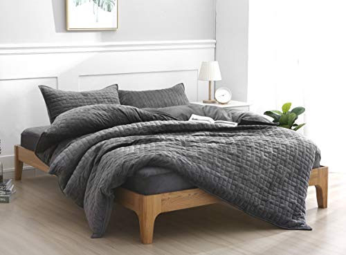 F.Y.Dreams Duvet Cover for Weighted Blanket 60x80 inches with 8 Ties/Minky Square Quilted/Dark Grey