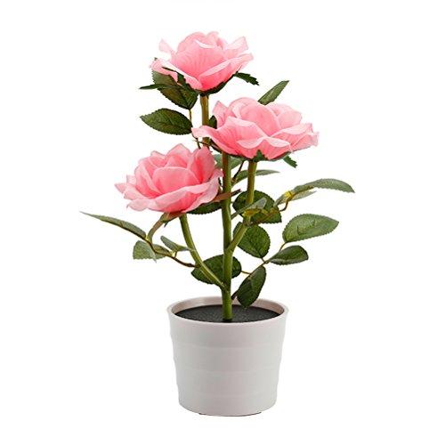 LEDMOMO Solar Flower Pot LED Light Rose Flower Lámpara de mesa 3 luces Flor LED Flexible Flor Lámpara de escritorio para el hogar Jardín Decoración de la habitación (rosa)