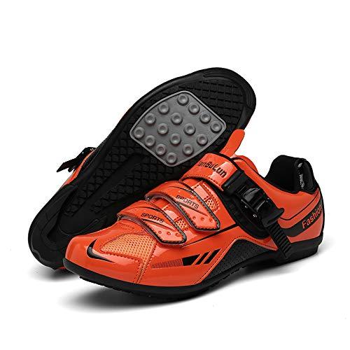 WYUKN Fahrradschuhe Für Männer Frauen Radfahren Reitschuhe Rotierende Schuhschnalle,Orange-41EU=(255mm)