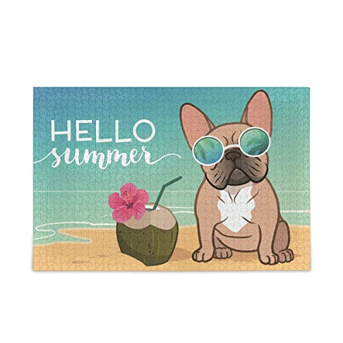 MOYYO 500 Pieces Jigsaw Puzzles for Adults Kids, Summer Beach French Bulldog Puppy Puzzles Wooden Jigsaw Puzzles Intellective Holiday Creative Toys Puzzle Game Wall Art Home Decor