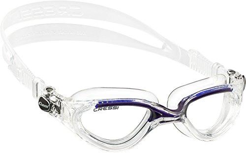 Cressi Flash - Premium Erwachsene Schwimmbrille Antibeschlag und 100{5d26eb2daa615d34f04005829ec1d08f1d0a1dd173a31c1d7d5488d969de0129} UV Schutz, Transparent/Blau - Transparent Linsen, One Size