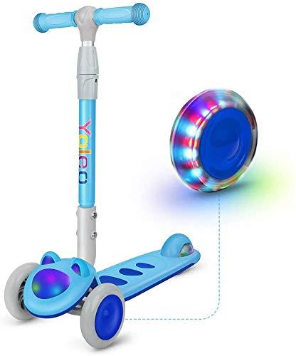 YOLEO Patinete para Niños Plegable, Patinete 3 Ruedas LED Parpadeantes, Manillar Ajustable 64-75 cm para 2 a 8 años, Carga Máxima de 50 kg, Regalo para Niños (Azul)
