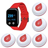 Wireless Caregiver Pager, BYHUBYENG Caregiver Alert Button Personal Help Nurse Alert Wrist Pager for Home Nurses Caregivers Patients Elderly 5 Waterproof Call Buttons 1 Watch Pager Receiver