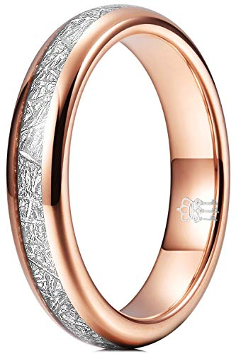 Three Keys Jewelry Tungsten Carbide Womens 4mm Hunting Viking Meteorite Wedding Band Ring with Polish for Women Inlay Engrave Engagement Rose Gold Size H