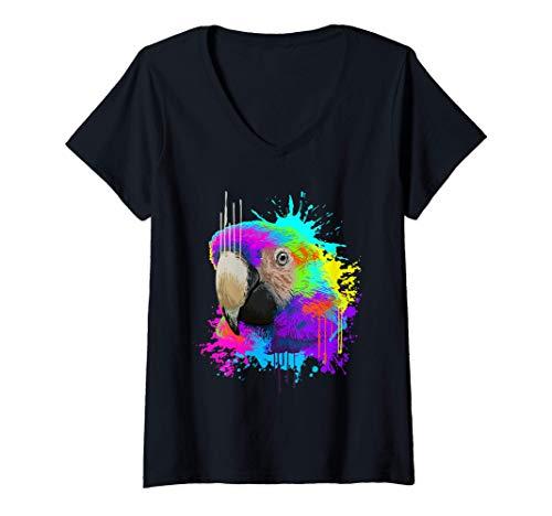 Mujer Splash Art Loro Pjaro Regalo Amante De Los Loros Camiseta Cuello V