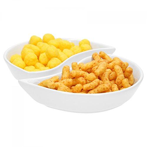 Van Well 2-TLG. Halbmond-Schalenset Büfett | 350 ml | Snack-Schüssel | halbrund | Servier-Schälchen zum Dinner | Marken-Porzellan | weiß | Gastro