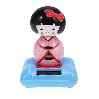 Amosfun Solar Powered Bobble Shaking Head Dancing Toy Japanese Kokeshi Doll Figurines Statues Car Dash Board Decorations Pink