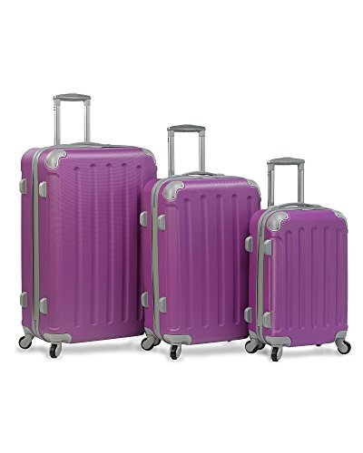Dejuno Neato 3-Piece Hardside Spinner Combination Lock Luggage Set, Purple, One Size
