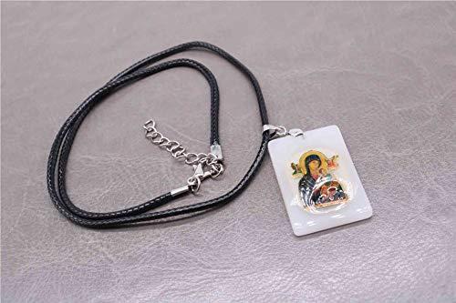 ZLININ Y-Longhair Jesús Colgante Colgante Santa Ana y el Collar de Cuero de la Medalla de Cristo Joven, así como la Virgen y el Bautista St. John. (Metal Color : 4)