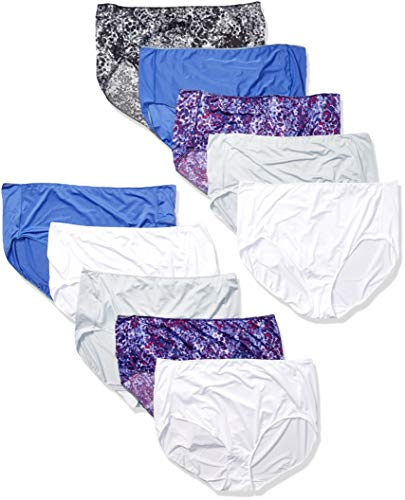 Hanes Women's Cool Comfort Microfiber Briefs 10-Pack, Assorted, 7