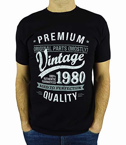 My Generation Gifts Vintage Year - Aged To Perfection - Regalo Di Compleanno Per 40 Anni Maglietta Da Uomo Nero L