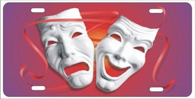 Theater Masken Komödie Tragödie Neuheit Front Lizenz Plate Dekorative Auto Tag