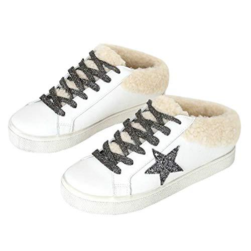 Ruanyu Damen Plateau Star Sneaker Fleece Schnürschuhe Mode Bequeme Wanderschuhe, Weiá (weiß), 40 EU