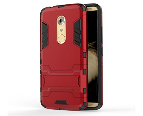 Bllosem ZTE Axon 7 Case Hybrid Dual Layer PC+TPU Full Body Shock Resistant Armour with Kickstand Function Case for ZTE Axon 7 Red