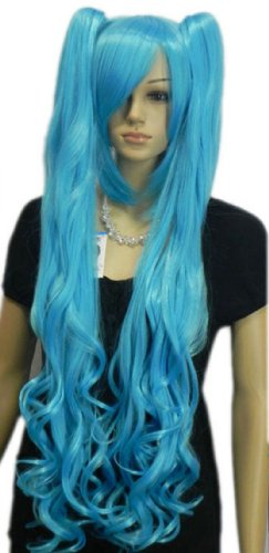 Qiyun Sea Bleu Longue Boucle 2 Ponytails Cute Cheveux Complete Cosplay Anime Costume Perruque