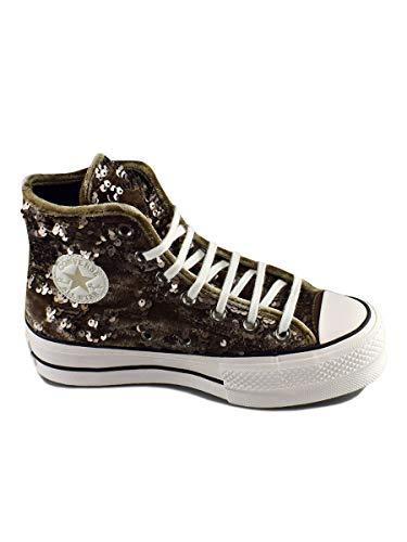 Converse Damen Chuck Taylor CTAS Lift Hi Sneakers, Mehrfarbig (Engine Smoke/Snow White/Black 207), 39.5 EU