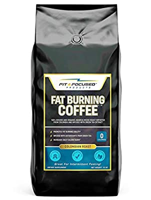 Fat Burning Coffee- Organic Colombian Ground Roast Infused With Green Tea Extract, Keto Diet Friendly 100% Kosher Micro Roast with Powerful Antioxidants- (10 Ounce Bag)