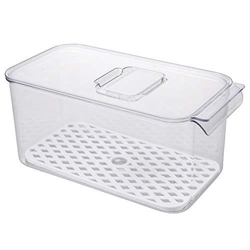 Mogzank Caja de Almacenamiento de Refrigerador de 2 Piezas Contenedores de Drenaje Transparentes de Frutas y Verduras con Tapa Organizador de Nevera de Cocina Fondo Blanco