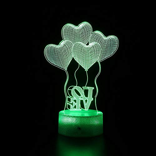 3D ilusión regalo lámpara amor 16 colores cambiantes táctil interruptor decoración noche luz control remoto juguete