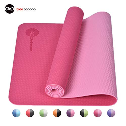 bobo banana Yoga Mat, TPE Non-Slip Fitness Mat Dual Color Exercise Mat for Yoga Gymnastics, Pilates & Floor Exercises (Pink)