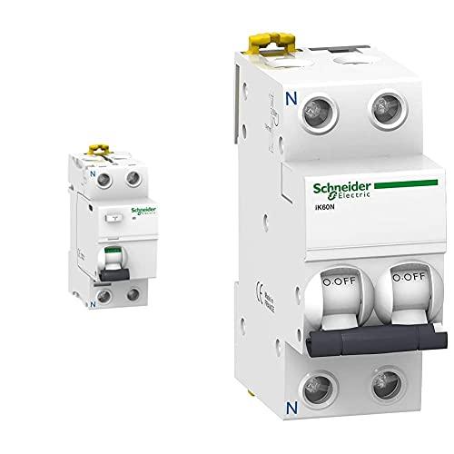 Schneider Electric A9R84240 Interruptor Diferencial Iid, 2P, 40A, 300 Ma, Clase Ac + A9K17625 Ik60N Interruptor Automático Magneto Térmico, 1P+N, 25A, Curva C, 78.5Mm X 36Mm X 85Mm, Blanco